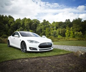 white Tesla car