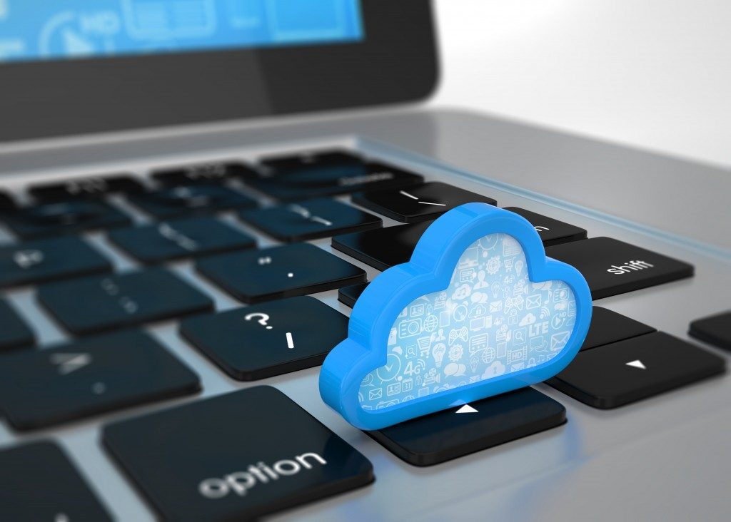 Cloud symbol on a laptop concept