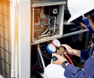 man installing heater