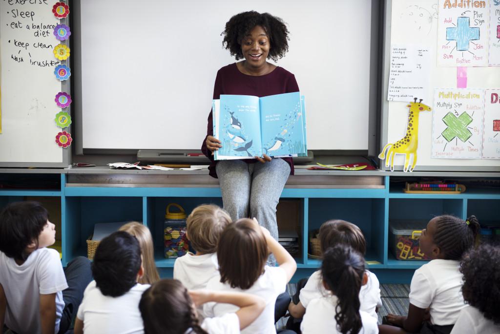 Teacher with preschool students